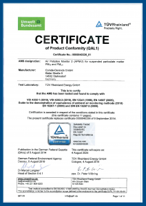 APM-2 Certificate of product conformity EN 15267