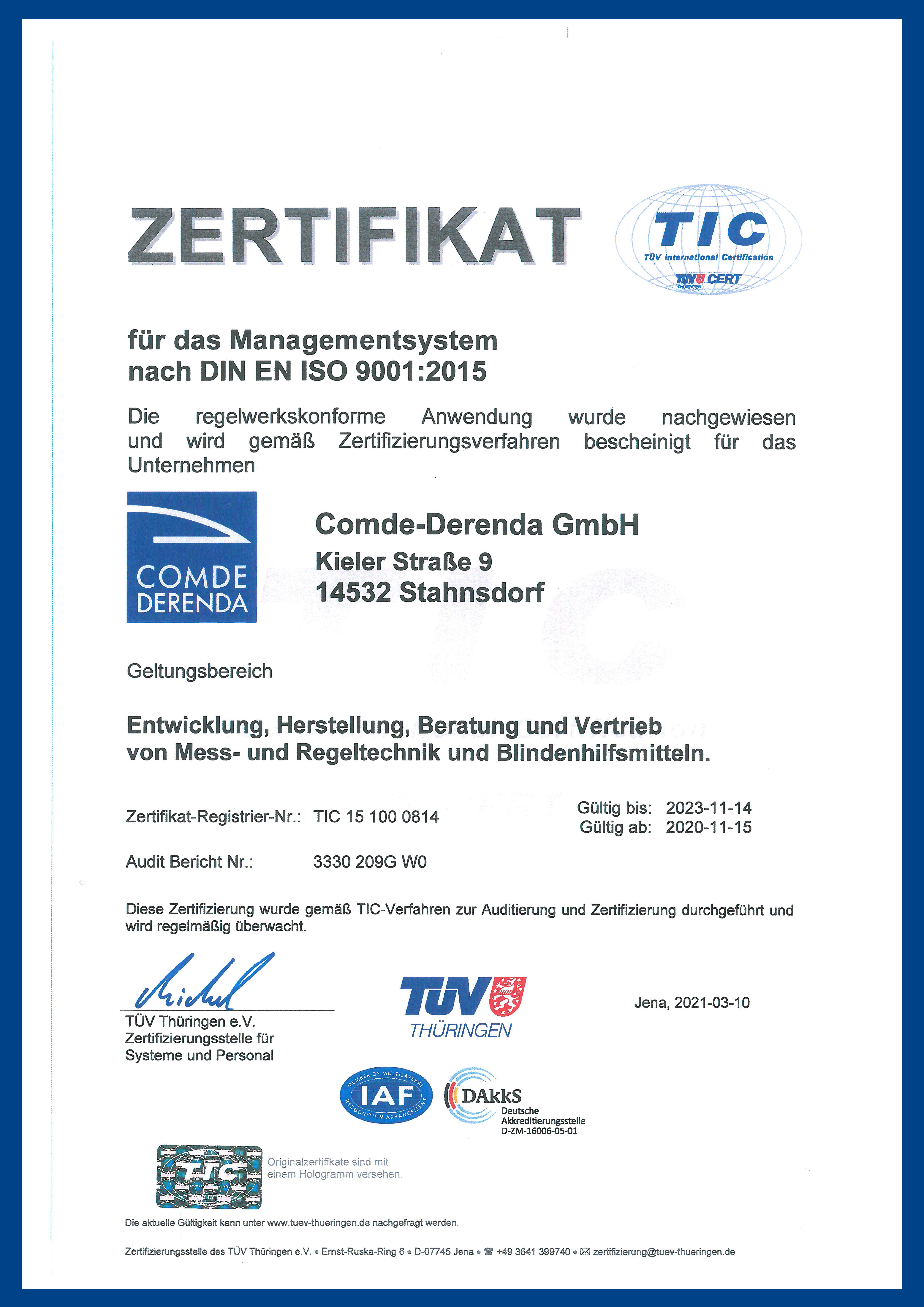 IOS-9001-Zertifikat